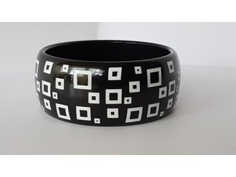 Läckert svartvitt armband / bangle