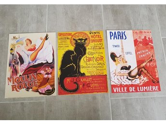 Planscher Moulin Rouge Paris Chat noir katt frankrike pin-up