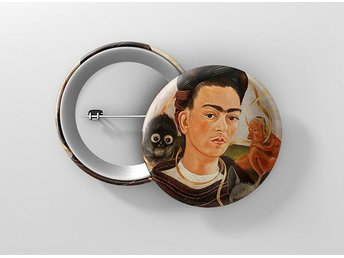 Frida Kahlo Self Portrait With Small Monkey Pin / Knapp / Badge Stor 57mm