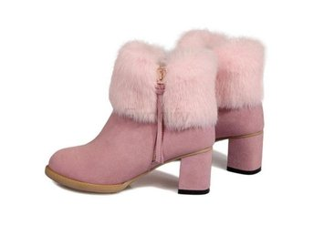 Dam Boots Square High Heel Botas Women Shoes Pink 36