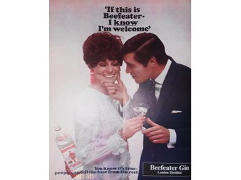BEEFEATER GIN LONDON DISTILLED TIDNINGSANNONS Retro 1968