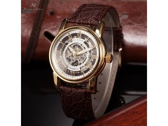 KS New Men's Automatic Mechanical Leather Strap Skeleton Roman Numerals Watch