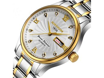 Gold Quartz Men Top Brand Luxury Famous Golden Stainless Steel Wrist Day/Week