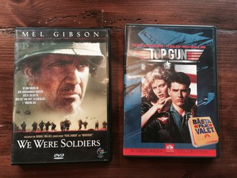 "2 DVD filmer, ""Top Gun"" och ""We Were Soldiers"" Mel Gibson och Tom Cruise"