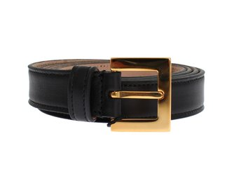 Dolce & Gabbana - Black Leather Gold Buckle Logo Waist Belt