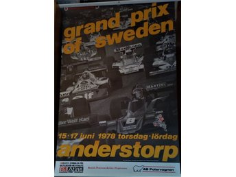 Officiell Affisch Formel 1 grand prix of sweden 1978 Anderstorp Ronnie Peterson