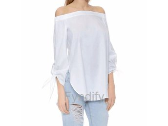 Blus Off Shoulder Vit Strlk L