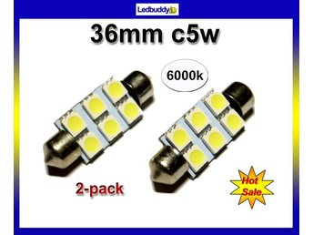 Spollampa 36mm Led lampa med 6st 5050smd chip 6000K  C5W SV8.5   2-pack