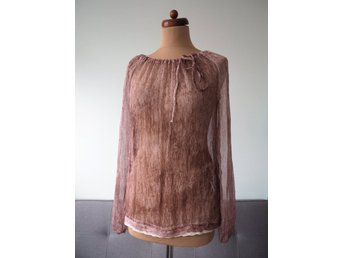 5ddc694e3eb053 Met Injeans chiffong silke blus topp A3 virka silk blouse top made in Italy  M