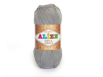 STRETCH Garn 100g/400m Ljusgrå Diva Stretch från Alize silk effect