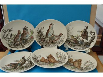 6 ST TALLRIKAR GAME BIRDS BY JOHNSON BROTHERS ENGLAND OLIKA MOTIV OVALA 26X24 CM