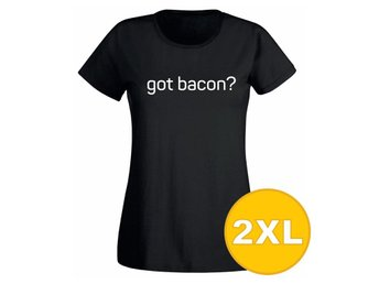 T-shirt Got Bacon? Svart Dam tshirt XXL