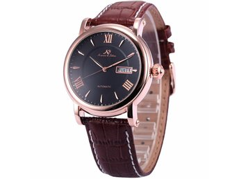 REA KS Automatic Mechanical Day Date Display Leather Band Mens Wrist Watch