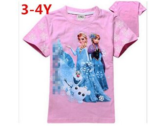Barn Girls Barn 3D T-shirt Top Summer Tops 3-4Y Princess Kläder