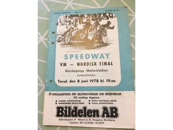 Speedway program VM -Nordisk Final 78