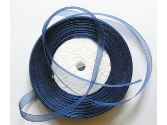 1 rulle ca 50m organzaband organza dekoration band - 10mm NAVY BLUE