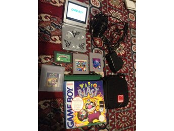 Game Boy Advance SP 101 AGS Backlit + Wario Blast + Wario land 1 & 4 + Tetris