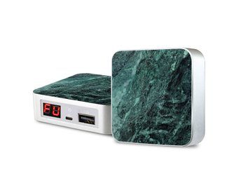 Portabel laddare - iPhone & Android -  Green Verdant Marble