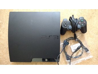 PlayStation 3/PS3 Slim 320GB - med handkontroll & kablage HDMI