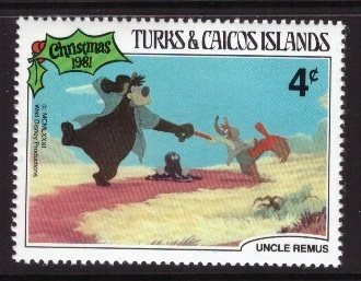 Disney, Turks and Caicos, 4-cent stamp Bear and Brer Fox