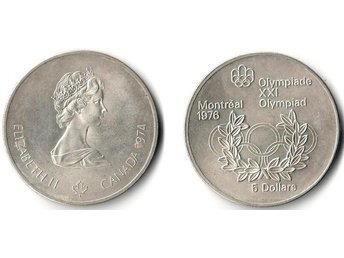 5dollars OS 1976 Olympic Rings and Wreath Kanada 1974 Silver 24,3g 925