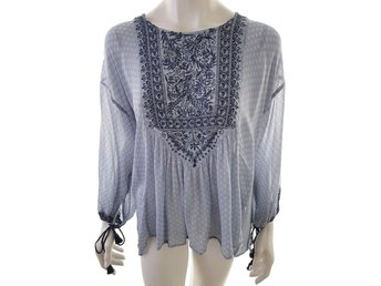Vintage 3/4 Sleeve Tunic Size S Blue 100% Viscose Print hippie boho embroidery