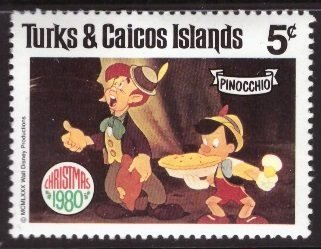 Disney, Turks and Caicos, 5-cent Pinocchio, Scott 448