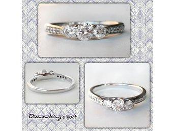 En mycket vacker diamantring i 18K guld med naturliga diamanter 0,50ct! - Trollhättan - En mycket vacker diamantring i 18K guld med naturliga diamanter 0,50ct! - Trollhättan