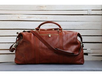 Italiensk Weekend bag,äkta skinn, Travel Bag,100% läder,sparar 1200 SEK