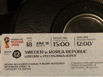2 tickets Sweden-South Korea World Cup Football 2018