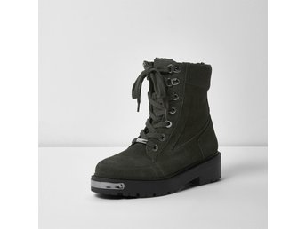 River Island Women's Khaki Green Suede Chunky Lace-up Boots