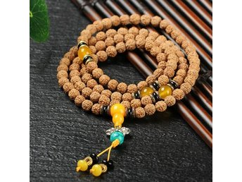 Gul 8mm Bodhi Seed Tibet Buddhist 108 Prayer Beads Armband Cuff Wrap Bangle