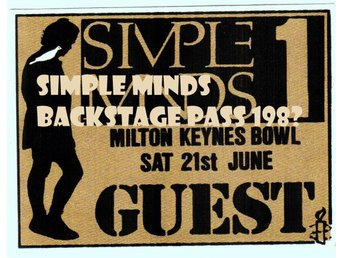 Simple Minds backstage pass Milton Keynes 21 juni 198?