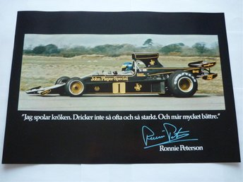 Ronnie Peterson Poster Affisch Formel 1 Lotus John Player ..