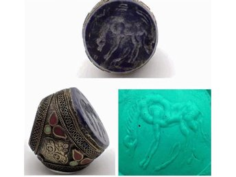 Enorma Antik islamisk Afghan Old Horse Koppartryck Lapis Silver mix ring
