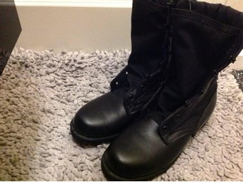 Military Jungle Boots, Size 6 1/2, Black, Hot Weather, Spike Protective