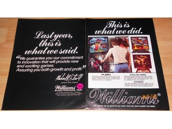 WILLIAMS ELECTRONICS PINBALL MACHINES, STOR TIDNINGSANNONS 1979