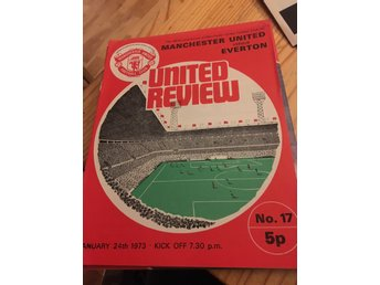 FOTBOLL Program Manchester United FC v Everton FC 24/1 1973 Old Trafford